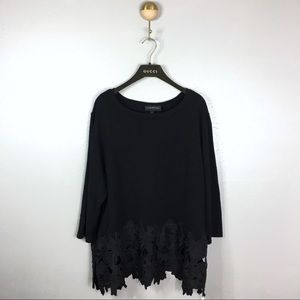 Lane Bryant Black Long Sleeve Floral Lace Sweater